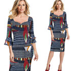 Women 3/4 Flare Bell Sleeve Geometric Contrast Party Casual Bodycon Sheath Dress