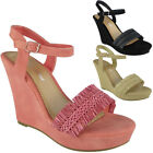 Womens Ankle Strap Shoes Ladies Buckle Party New High Heel Wedges Sandals Size