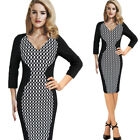 Womens Vintage Patchwork Geometry Wear to Work Office Business Sheath Slim Dress