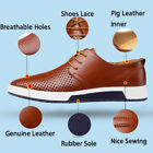2018 British Men Casual Genuine Leather Shoes Lace-up Sneakers Oxford Breathable