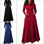 Womens Casual Pocket Cowl Neck Long Sleeve Swing Fit Maxi Dress Plus Size S-XXL