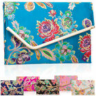 Jacquard Satin Floral Embroidered Flat Clutch Designer Wedding Bridal Women Bags