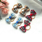 3 Pairs of Stripe British Style Cat Dog Hair Bows Rubber Band For Pet Grooming