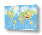 Physical Modern Maps #1 by World Map | Ready to hang canvas | Wall art artwork