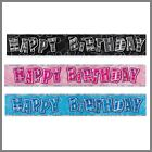 Party Decorations Happy Birthday Banners 12ft  Blue Black Pink CLEARANCE