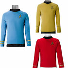 Cosplay Star Trek TOS Captain Kirk Shirt Classic Uniform Costume Red Blue Yellow