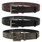 Soulstar Worn Leather Chrome Buckle Belt  Mens Size
