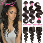 """8""""-30"""" Malaysian Body Wave Human Hair 3 Bundles with Lace Closure 8A Hair Weave"""