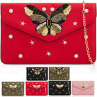 Large Flat Envelope Women Clutch Beaded Pearl Butterfly PU Leather Evening Bags