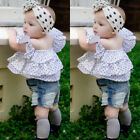 Kids Baby Girls Clothes Off Shoulder T Shirt Tops+Short Denim Pants Outfits Set