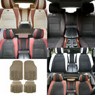 Luxury PU Leather Seat Cushion Cover w/ Beige Floor mats Headrests for Auto
