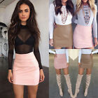 Women Ladies Sexy Bandage Leather High Waist Pencil Bodycon Short Mini Skirt Hot