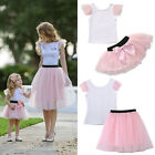 Mother and Daughter Summer Baby T-shirt Skirt Tulle Dress Matching Outfits USA