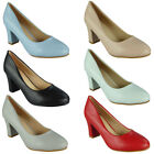 Womens Plain Court Shoes Ladies Office Work New Casual Mid Block Heel Party Size