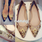 Womens Pointy Toe Embroidery Boat Shoes Casual Flats Ballet Shoes Rhinestones SZ