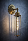 Cylinder Wire Cage Wall Light Brass or Pewter 38cm High Industrial Factory Style