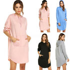 Fashion Women Casual Long Sleeve Sweatshirt Hoodie Hoody Hooded Mini Short Dress