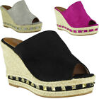 Womens Ladies Espadrilles Slip On Peeptoe Stud Platform Shoes Wedge Sandals Size