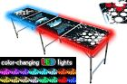 8-Foot Beer Pong Table w/ OPTIONAL Cup Holes & LED Glow Lights - Splash