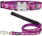 Red Dingo Breezy Love Dog Collar or Lead Purple Hearts