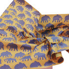 """Blue-Purple Elephants on Kraft Brown Tissue Paper Gift Wrapping 20""""x30"""" Sheets"""