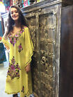 BOHO GYPSY HIPPY KIMONO KAFTAN DRESS FLORAL EMBROIDERED ETHNIC INDIAN MAXI DRESS