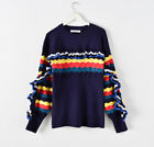 Ting fl Ruffle Knitted Sweater Women Pullovers Female Casual Striped Rainbow Loo