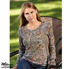 Mossy Oak Camo Long Sleeve Burnout Crew Neck Top M L XL XXL