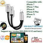 Apple iPhone Adapter 2 In 1 Splitter Lightning Charger 8/7/ AUX 3.5mm Audio