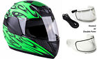 Youth Kids Snowmobile Snow Helmet Matte Green Child DOT Full Face