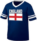 England Flag Colors Font English Country Soccer GBR From Men's V-Neck Ringer Tee