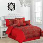 JACQUARD QUILTED 7 Pc COMFORTER BEDSPREAD THROW  SET + PENCIL PLEAT CURTAINS  image