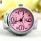 LADY GIRL CREATIVE STAINLESS STEEL ROUND ELASTIC QUARTZ FINGER RING WATCH GOOD