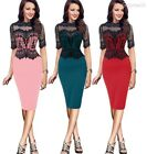 S-5XL Fashion Women Lace Patchwork Mid-sleeve Pencil Dress Cocktail Party