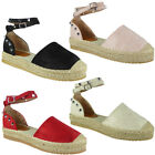 Womens Ladies Studded Ankle Strap Espadrilles Shoes Flatform Summer Sandals Size