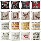 Valentine's Day Gift Lover Letter Pillow Case Sofa Cotton Linen Cushion Covers