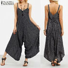 UK 8-24 ZANZEA Summer Women V Neck Clubwear Jumpsuits Striped Wide Leg Playsuits