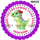 Personalised Dinosaur Party stickers For Sweet Cones etc, 3 Sizes - Ref DNO-01