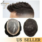 Fine Mono Poly Mens Toupee 100% Human Remy Hair Replacement Hairpieces Systems