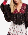 167042 New Free People Lady Lou Floral Printed Embroidered Black Blouse Top L