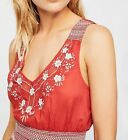 167235 New Intimately Free People Mallocra Floral Embroidered Rust Cami Top M