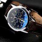 Men's Leather Military Casual Analog Quartz Wrist Watch Fashion Business Watches