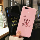 Glossy Crown KING QUEEN Letter Phone Case For iPhone X 8 7 6S Plus  Couples Case