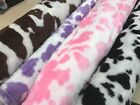 cow print  FAUX FUR fun FABRIC 155CM WIDE black,  brown