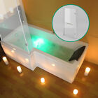 WHIRLPOOL SHOWER JACUZZIS JETS SPA BATH L/P SHAPED WITH HINGED SCREEN L/R HAND