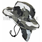 Boonie Hat with Neck Flap Fishing Outdoor Cap Military Snap Wide Brim City-Camo