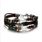 Fashion Womans Opal Beads Braided Rope Genuine Leather Alloy Cool Bracelet