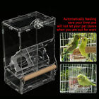 Clear Acrylic Parrot Bird Automatic Feeder Food Water Bowl Hopper Feeding Tray