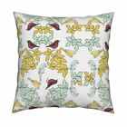 Birds Leaves Canary Robin White Throw Pillow Cover w Optional Insert by Roostery