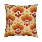 Ombre Retro Sixties Wallpaper Throw Pillow Cover w Optional Insert by Roostery